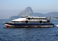 Sugar Loaf and the ferry boat. In Guanabara Bay,  Rio de Janeiro Stock Images