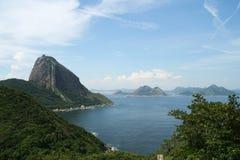 Sugar Loaf Mountain and Guanabara Bay. Rio de Janeiro Atlantic forest and Guanabara Bay. Brazil Stock Photo