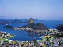 Sugar Loaf Mountain in Rio de Janeiro at night, Brazil Royalty Free Stock Image