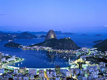 Sugar Loaf Mountain in Rio de Janeiro at night, Brazil Royalty Free Stock Images