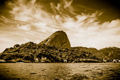 Sugar Loaf mountain from sea Stock Photos
