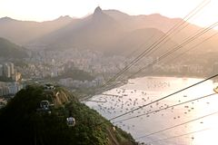 Sugar Loaf Mountain View - Rio. This image was shot in Rio De Janeiro, Brazil from the Sugar Loaf mountain lookout at dusk and shows the suburb of Urca Stock Image