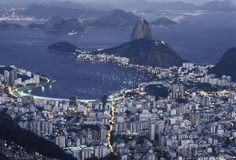 Sugar Loaf (Pão de Açucar) and Botafogo bay at night, Rio de J Stock Photography