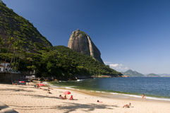 Sugar Loaf of Rio de Janeiro. A less known point of view of the Rio de Janeiro Sugar Loaf, from the Praia Vermelha - Red Beach royalty free stock photos