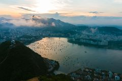 The Sugar loaf in Rio de Janeiro at sunset. royalty free stock photography