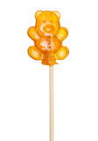 Sugar lollipop, lollypop bear on a wooden stick Royalty Free Stock Photography
