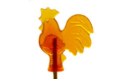 Sugar lollipop rooster isolated. On white background Stock Photos