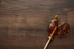 Sugar lollipop rooster shaped Stock Photos