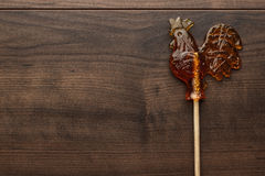 Sugar lollipop rooster shaped Stock Photography