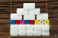 Sugar lumps and word diabetes Stock Images