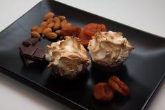 Sugar meringue with nuts Stock Photos