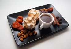 Sugar meringue with nuts Stock Images