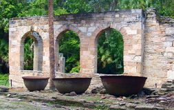 Sugar Mill Ruins. Built in the 19th century and once part of the Cruger-dePeyster Plantation, Sugar Mill Ruins is a 17 acre historic site that contains ruins of royalty free stock photos