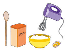 Sugar and mix. Elements and ingredients for cooking Stock Illustration