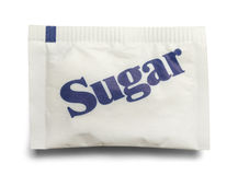 Sugar Packet. Small Paper Sugar Packet  on a White Background Royalty Free Stock Photo