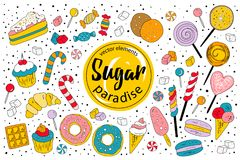 Sugar paradise - sweet vector collection royalty free illustration