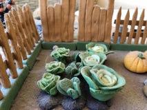 Sugar past figure. Marzipan vagetable. Carot, banana, basket, tree, apple, lemon, leaf Stock Photo