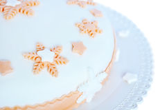 Sugar paste, white cake with pink decoration Royalty Free Stock Image