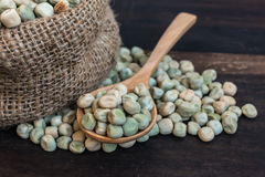 Sugar Pea Seeds in Gunny Bag with Spoonful Stock Image