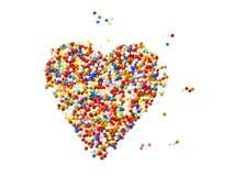 Sugar pearls colorful heart shape Royalty Free Stock Photos
