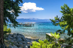 Sugar Pine Point Pier. Image of kids playing on the pier at Sugar Pine Point Royalty Free Stock Photography