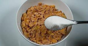 Sugar Poured op een Kom Graangewassen, stock video