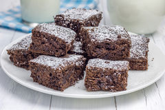 Sugar powdered homemade brownies. Closeup Royalty Free Stock Photography