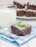 Sugar powdered homemade brownies with glass of milk. Closeup Royalty Free Stock Image