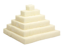 Sugar pyramid. Isolated on white background Royalty Free Stock Photo