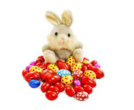 Sugar rabbit and easter eggs Stock Photography