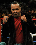 Sugar Ray Leonard. Boxing legend Sugar Ray Leonard is introduced in the ring at the Dunkin Donut Center. (Image taken from color negative Stock Images