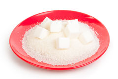 Sugar on a red plate Royalty Free Stock Photography