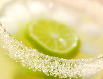 Sugar Rim of a Lemonade. The sugar rim of a glass filled with fresh lemonade with lime slices and ice cubes (Very Shallow Depth of Field, Focus on small part of Royalty Free Stock Photo