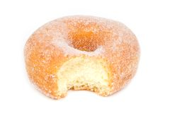 Sugar Ring Donut with Bite Missing on White Stock Photography