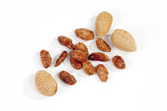 Sugar roasted almonds on white background Stock Photography