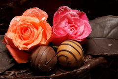 Sugar Roses. Sugary roses and chocolate ball cake decoration royalty free stock images