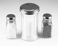 Sugar, salt, and pepper shakers. Royalty Free Stock Photo