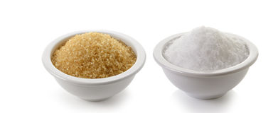 Sugar and salt on white background Stock Photography