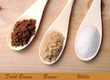 Sugar samples on wooden spoons Royalty Free Stock Photo