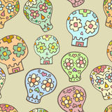 Sugar sculls doodle cute seamless pattern. Background, texture textile royalty free illustration