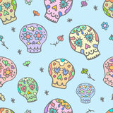 Sugar sculls  doodle cute seamless pattern. Background, texture textile Royalty Free Stock Image