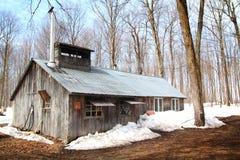 Sugar shack. Beautiful and aged sugar shack during spring season in Quebec, Canada Stock Photo