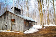 Sugar shack. Beautiful and aged sugar shack during spring season in Quebec, Canada Stock Photos