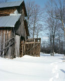 Sugar Shack Lanark County Ontario Canada. Aging sugar shack waits for spring crop of maple syrup. 6x7 Kodachrome drum scan Royalty Free Stock Photo