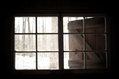 Sugar Shack window to the woods Stock Photo
