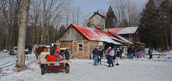 Sugar shacks. VALCOURT QUEBEC CANADA 03 13 17: During maple season the Eastern Townships boasts a large number of sugar bushes, so it is no surprise to find so stock image