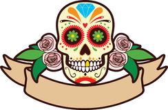 Sugar Skull. Mexican Sugar Skull with roses and blank banner for text vector illustration