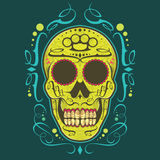 Sugar Skull. Decorative green sugar skull illustration Royalty Free Stock Image