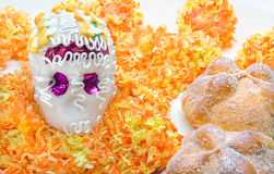 Sugar skull altar for 'Dia de los Muertos'. Celebration with 'Pan de Muerto Stock Image