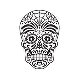 Sugar skull. Black tattoo. Mexican Day of the Dead. Vector illustration. Sugar skull. Black tattoo. Silhouette. Mexican Day of the Dead. Vector illustration vector illustration
